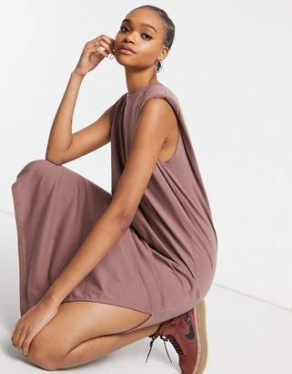 Weekday Kai organic cotton jersey dress with shoulder pads in rust