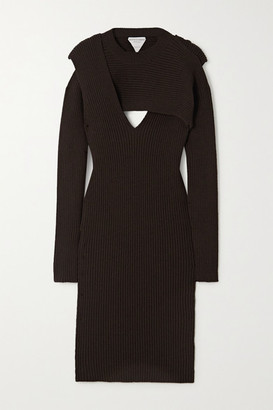 Bottega Veneta Cutout Ribbed-knit Midi Dress - Brown