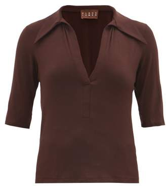 ALBUS LUMEN Exaggerated Point Collar Top - Womens - Brown