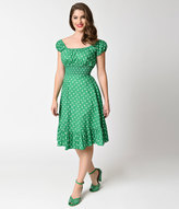 Unique Vintage 1940s Style Kelly Green & White Dot Cap Sleeve Peasant Swing Dress