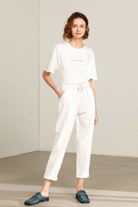 J.ING Eileen White Cuffed Trousers