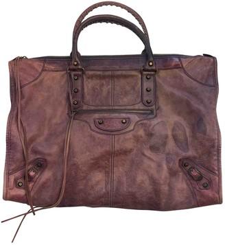Balenciaga Weekender Purple Leather Handbags