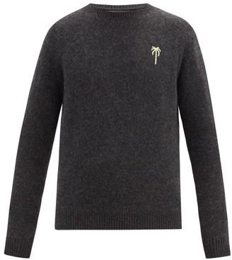 The Elder Statesman Palm-embroidered Cashmere Sweater - Dark Grey