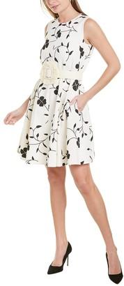Oscar de la Renta Pleated Silk-Lined Wool-Blend Mini Dress