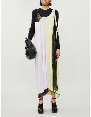 Maison Margiela Contrasting-panel woven maxi dress
