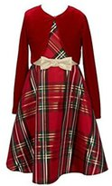 Bonnie Jean Girls Christmas Dress - Plaid Jacket Dress
