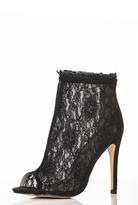Quiz Black Lace Peep Toe Shoe Boots