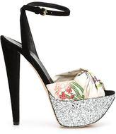 Giambattista Valli platform glitter sandals - women - Suede/Other fibres - 39