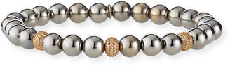 Sheryl Lowe 7mm Silver Bead Bracelet with 6mm 14k Pave Diamond Balls