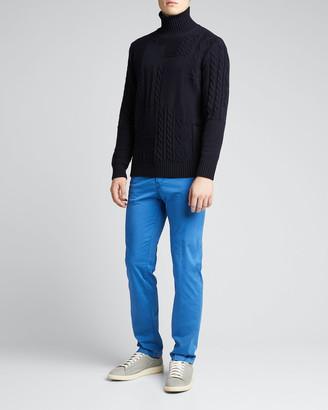 Kiton Men's Solid 5-Pocket Stretch Pants, Royal Blue