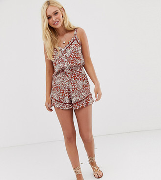 Miss Selfridge shorts with frill in ditsy floral-Orange