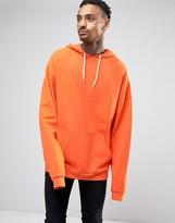 Asos Oversized Longline Hoodie In Orange With Super Long Sleeves