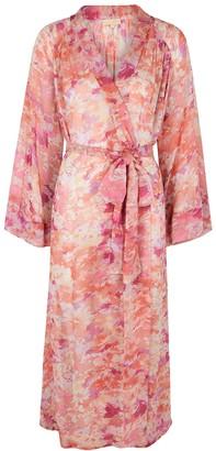 By Ti Mo Pink floral-print georgette kaftan