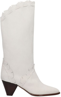 Isabel Marant Leesta Low Heels Ankle Boots In White Suede