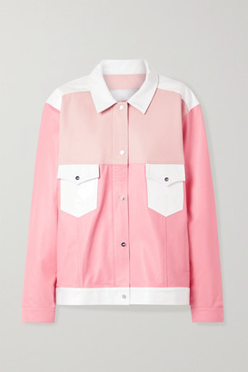 The Mighty Company The Beverley Paneled Leather Jacket - Pink