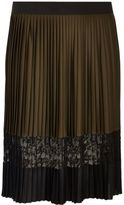 River Island Womens Plus khaki pleated lace panel midi skirt