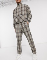 Mennace natural wool check tapered trouser