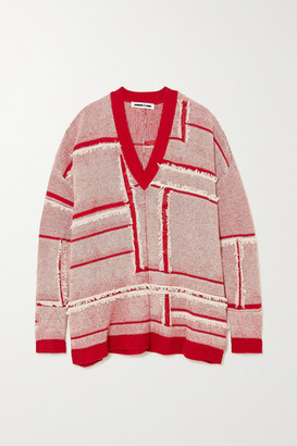 McQ Fringed Linen And Cotton-blend Sweater - Red