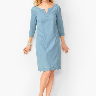 Talbots Scallop-Trim Denim Shift Dress