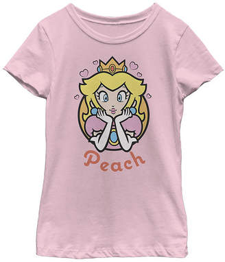 Fifth Sun Super Mario Peach Hearts Girls Crew Neck Short Sleeve Super Mario Graphic T-Shirt - Preschool / Big Kid Slim