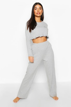 boohoo Petite 'Honey' Slogan Frill Top PJ Set