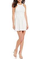 B. Darlin High Neck Lace Bodice Pleated Skater Dress