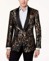 Tallia Men's Big & Tall Slim-Fit Brown/Black Floral Shawl-Collar Dinner Jacket