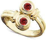 TVS-JEWELS Forever Two Stone Round Cut Red Garnet Bypass Fancy Wedding Ring 925 Silver 14k Gold Plated (7.5)