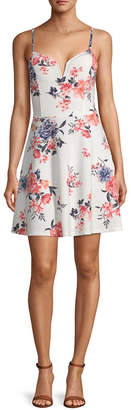 Almost Famous Juniors Sleeveless Floral Fit & Flare Dress