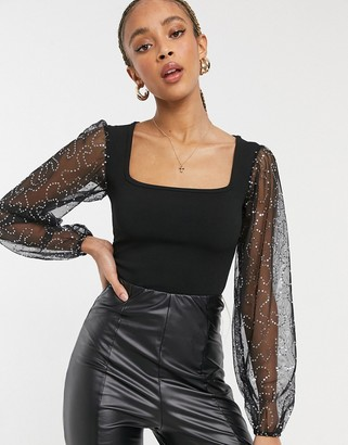 Rokoko square neck body with sequin mesh puff sleeves in black