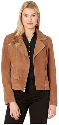 UGG Ronnie Suede Moto Jacket (Dark Chestnut) Women's Clothing