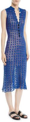 Novis Sleeveless Button-Front Hand-Crochet Silk Midi Dress