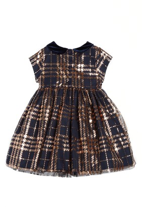 Pippa & Julie Kids' Foil Plaid Dress