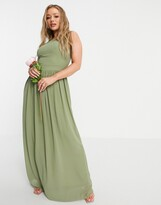 Thumbnail for your product : TFNC Bridesmaid high neck pleated maxi dress in dusky green