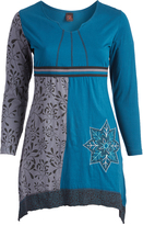 Aller Simplement Blue & Gray Floral Star Notch Neck Sidetail Dress - Plus Too