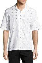 McQ by Alexander McQueen Billy Swallow-Print Short-Sleeve Sport Shirt, White