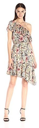 MinkPink Women's Wattle Wonder Floral-Print One-Shoulder Dress