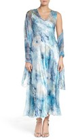 Komarov Women's A-Line Chiffon Dress With Shawl