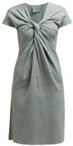 Loup Charmant Gilgo Knotted Cotton-gauze Mini Dress - Womens - Green
