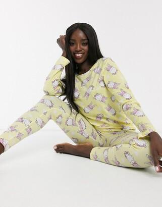 Asos DESIGN bunny print long sleeve tee & legging pyjama set