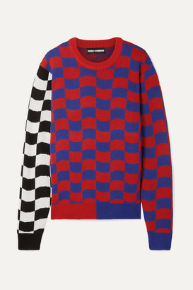 Double Rainbouu - Oversized Checked Merino Wool-blend Sweater - Red