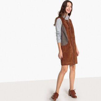 La Redoute Collections Dual Fabric Leather and Jacquard Dress
