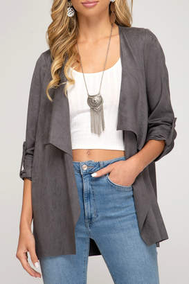 She+Sky Roll up sleeve faux suede jacket
