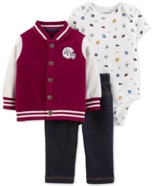 Carter's Baby Boys 3-Pc. Varsity Jacket, Printed Bodysuit & Pants Set
