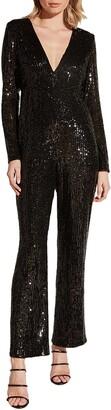 Bardot Dita Sequin Long Sleeve Jumpsuit