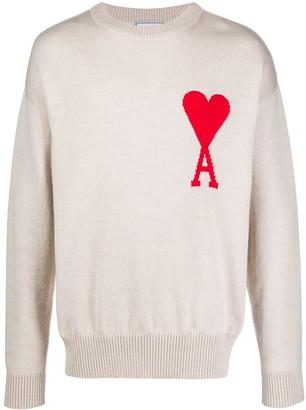 Ami Paris Men De Coeur Intarsia Oversize crew neck Sweater