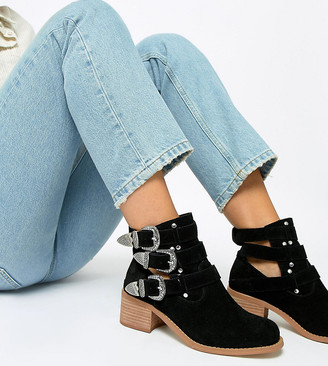 ASOS DESIGN Wide Fit Blair leather cut out ankle boots