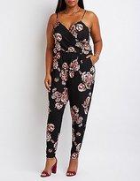 Charlotte Russe Plus Size Floral Surplice Jumpsuit