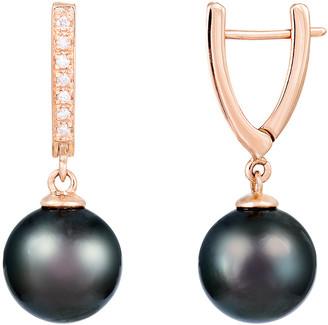 Splendid Pearls 14K Rose Gold 0.10 Ct. Tw. Diamond & 10-11Mm Tahitian Pearl Earrings