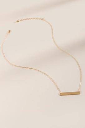 francesca's Helen Delicate Bar Pendant Necklace - Gold